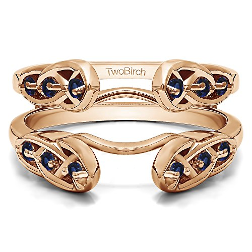 1/4 ct. Sapphire Infinity Celtic Ring Guard Enhancer in Rose Gold Plated Sterling Silver (0.24 ct. twt.) by TwoBirch