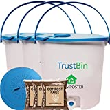Trust Bin for a Family of 3 Members (Set of Three 14 ltrs bins)- Indoor Compost Bin, White