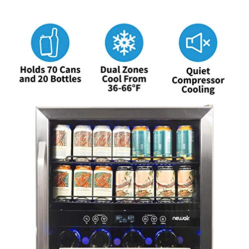 NewAir AWB-400DB Dual Zone Beverage Cooler Built-In Stainless Steel Refrigerator for Soda Beer or Wine Holds 22 Bottles and 70 Cans by NewAir (Image #3)