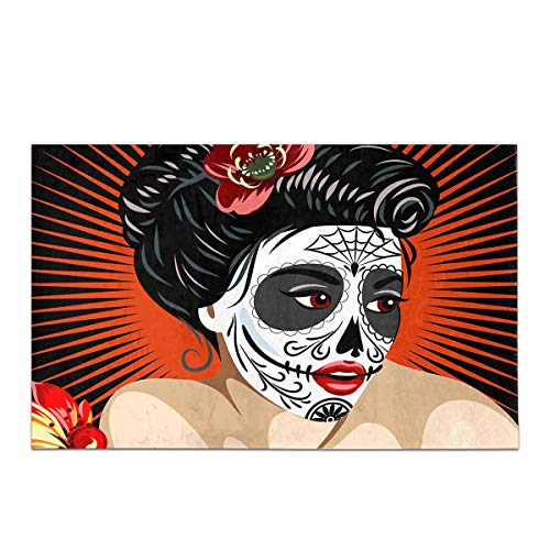 InterestPrint Halloween Mexican Girl's Death in Sugar Skull Make-up House Decor Non Slip Bath Rug Mat Absorbent Bathroom Floor Mat Doormat Large Size 20 x 32 inches -