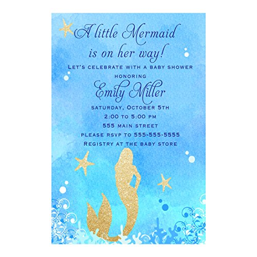 30 Invitations Mermaid Baby Shower Birthday Party Watercolor Photo Paper