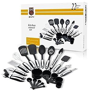 Yansuf ind kitchen Utensils - Premium Stainless Steel , Nylon And silicone Kitchen Utensils Set With Recipes Ebook , 22 Pieces.