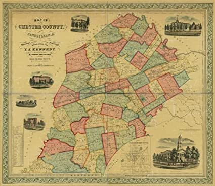 Amazon.com: Map of Chester County, Pennsylvania Chester County ... on