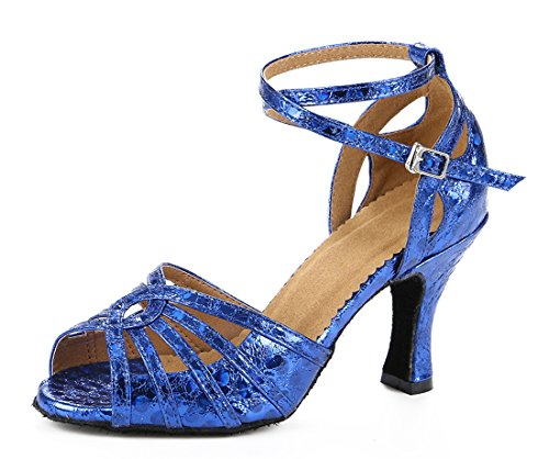 Out Modern Flared Party Wedding Heel Heel Ballroom Sandals Dance Joymod Peep Shoes Blue Prom Latin Cut Toe Women's Practice Chacha MGM Synthetic Floral 8cm 6zwIq