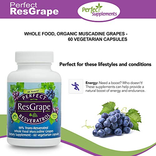 Perfect Resgrape Resveratrol Supplement - 200mg 99% Trans-Resvertarol - Made From Organic Muscadine Grapes - 60 Vegetable Capsules by Perfect Supplements (Image #2)