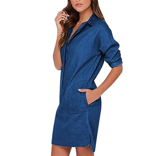 26eb4045d64 iLUGU Distressed Rivet Denim Long Shirt Dress Leather Belt Light Blue