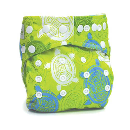 Bumkins Stuff It Cloth Diaper with 2 Minky Inserts, Green Turtle (Bumkins Cover Diaper)