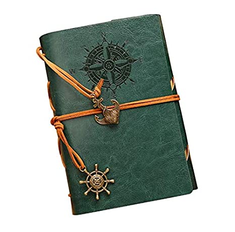 IIOOII Vintage Retro Leather Cover Journal Jotter Diary Notebook Black