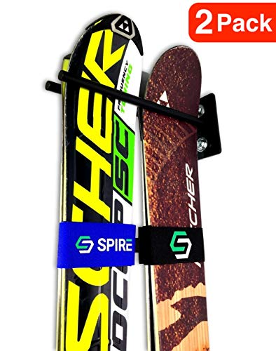 Skis Vertical Tip Twin (Couple Ski Wall Storage Rack | Steel Home and Garage Skis Mount (2))