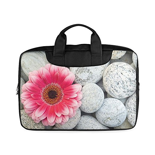 Laptop Notebook Pink Flower Daisy on the Stones Handle Sleeve Bag Case Cover for 13 inches MacBook Pro(Twin Sides Printing)