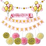 Baby Shower Decorations Girl Baby Shower Party Supplies It's A Girl Baby Shower Bunting Banner with Mummy to Be Sash Round Garland, Balloons, Pom Pom Paper Flower
