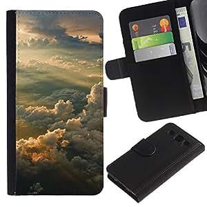 KLONGSHOP // Tirón de la caja Cartera de cuero con ranuras para tarjetas - Sunset Sky - Samsung Galaxy S3 III I9300 //