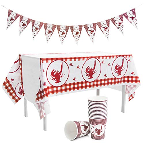 Cups Ounce Clothes 9 - Crawfish Boil Party Supplies - Table cloth Party Decorations - Checkered Tablecloth Design - Banner & Paper Cups