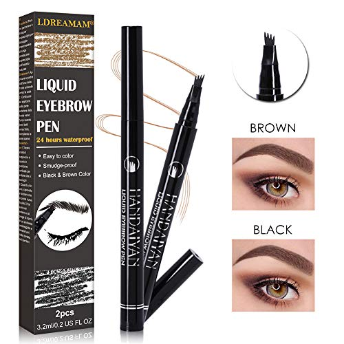 Eyebrow Tattoo Pen,Waterproof & Smudge-Proof Microblading Eyebrow Pencil,Long-lasting Waterproof Brow Gel,Four Tips Micro-Fork Tip Applicator Creates Natural Looking Brows Effortlessly (The Best Eyebrow Gel)