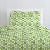 Carousel Designs Green Honeycomb Duvet Cover Twin Size - Organic 100% Cotton Duvet Cover - Made in the USA