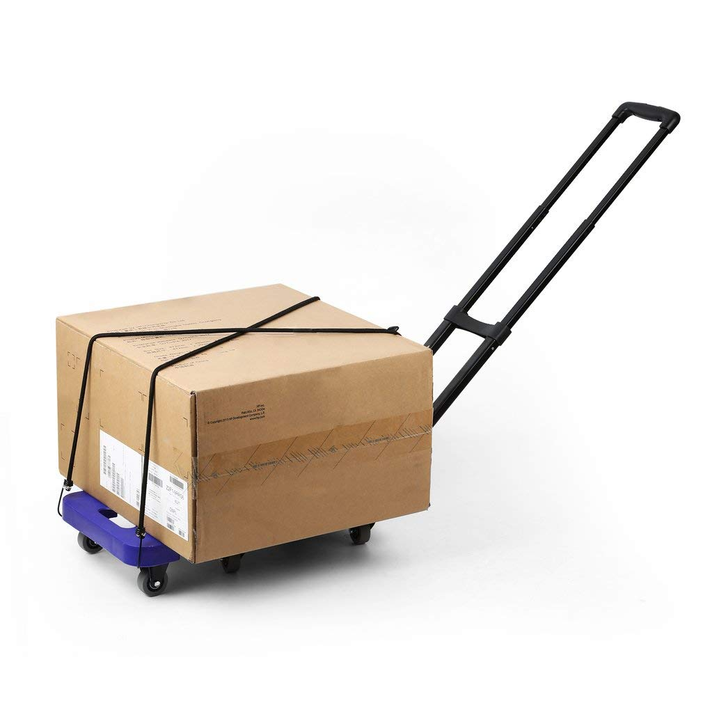 Graspwind Hand Truck Folding Luggage Cart 3-fold Handle 360°Rotate 6 Wheels and Free Rope Travel Trolley 440lbs (Blue) by Graspwind (Image #6)