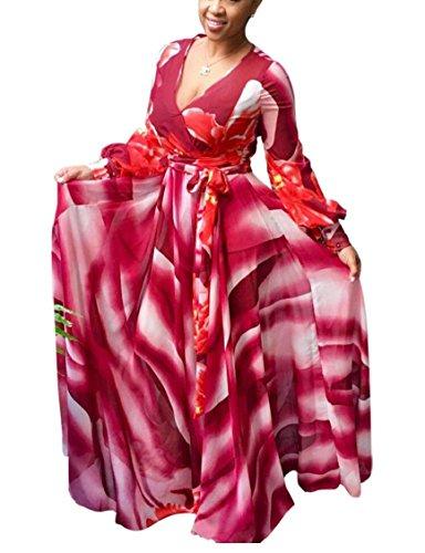 Jaycargogo Chiffon Neck Printed Womens Long Sleeve V Dress Long Sexy 2 Floral gwIgUr1q