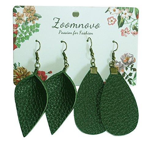 (Dark Green Faux Leather Earrings Teardrop Leaf Shape for Women Jewelry)