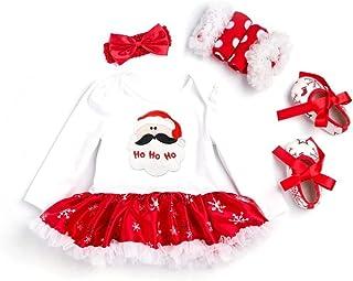 Newborn Baby Christmas Outfit Costume Dress + Headband+ Shoes+ Socks 4PCS Suits Set