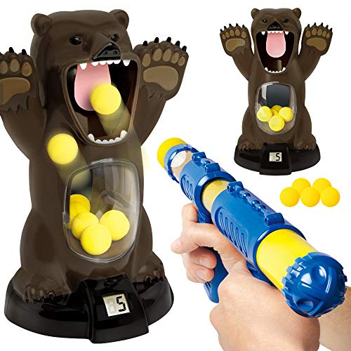 EKIMI Carnival Style Novelty Games Scream Hungry Bear Kids' Electronic Shooting Game Party Toys with Sound (A) (Sharper Image Hungry Bear Target Shooting Game)