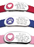 Jewelry Collar Tag – Custom engraved cat or dog pet ID tag that attaches flat to any collar. Paw or Heart design in 3 sizes and 4 colors., My Pet Supplies
