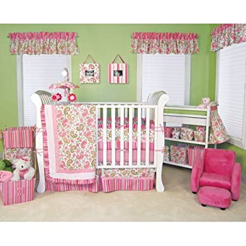 Perfect 14 Pcs Paisley Park Trend Lab Pink Green Paisley Crib Bedding Set Nursery  Ensemble Complete Good Ideas