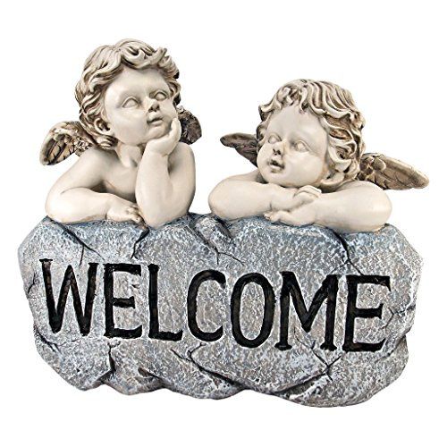 Resin Cherub - Design Toscano Raphael's Cherub Twins Welcome Statue, Two Tone Stone