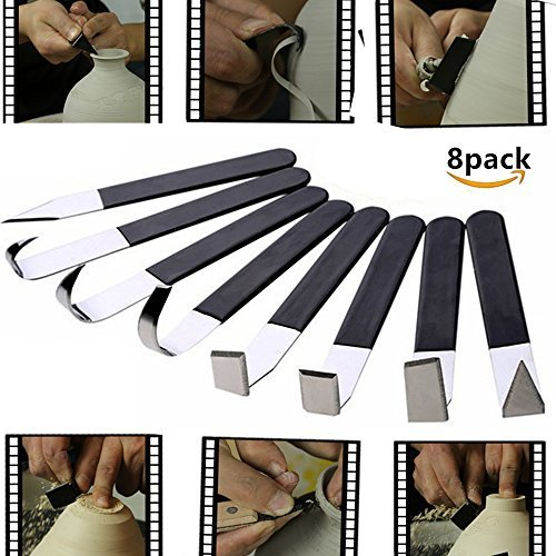 8 Pack Pottery Tools - Stainless Steel Carving Shaping Knives Clay Sculpture Hand Tools Craft Trimming Artist Ceramic Tools Set with Rubber Handle WKarma