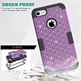 iPhone 7 Case, GreenElec [Diamond Studded Bling Rhinestone] Hybrid Heavy Duty Dual Layer Armor Defender Protective Rubber Case With Fit Perfect Shock Absorbing Scratch Proof for iPhone 7