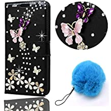 Vandot Samsung Galaxy A5 2017 Wallet Case,PU leather 3D Bling Diamond Crystal Rhinstone Flip Cover Magnetic Protective Case Skin Shell for Samsung Galaxy A5 2017 +Pompon Ball -Pink Purple Butterfly