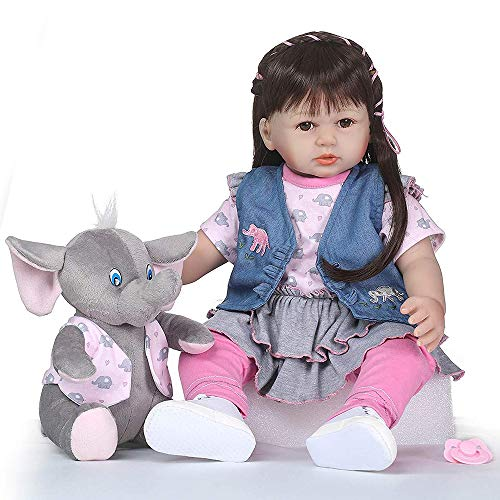 Real Life Reborn Baby Dolls Toddler Cotton Body Denim Outfit with Toy Elephant 24 Inch