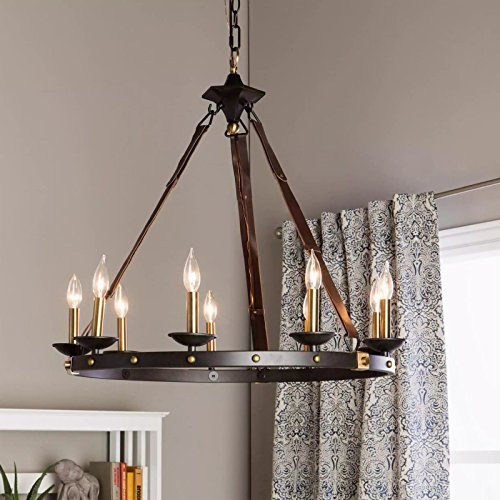 Rustic chandelier lighting great for high and low ceiling rooms circular round fixture provides warm