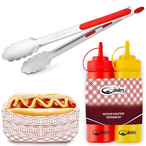 Hot Dog Mustard - The Candery All-in-One Hot Dog Accessories Set- Ketchup and Mustard Squeeze Bottles - BBQ Tongs - 50 Red/White Hot Dog Trays for Carnivals, BBQs, Picnics, Concession Stands