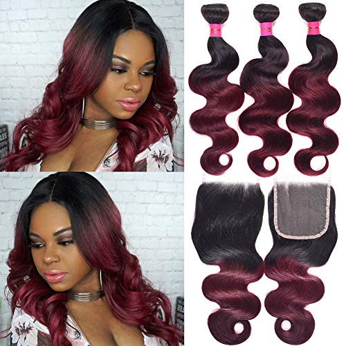 (Mother's Day Gift Brazilian Black To Wine Red Ombre Two Tone Body Wave Hair 3 Bundles With 4