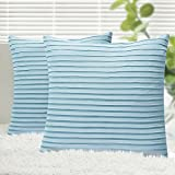 Decorative Pillow Cover - Yeadous Throw Pillow Covers, 2 Pack Jacquard Striped 100% Cotton Cushion Cover, Original Design Soft Throw Pillow Case, Best Decorative Pillow Covers for Sofa Couch BedHome Decor(18x18 inches, Blue)