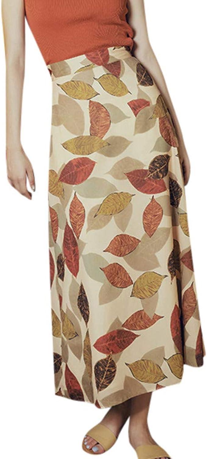 Faldas Mujer Verano Retro impresión de la Hoja de Hadas Falda ...