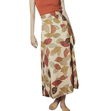 Faldas Mujer Verano Retro impresión de la Hoja de Hadas Falda 2019 ...