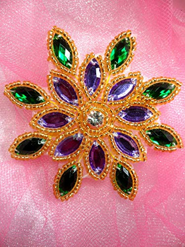 Mardi Gras Snowflake Star Jewel Beaded Applique Sewing Crafts Patch 3 DSKZZ-1208