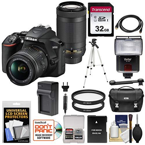 Nikon D3500 Digital SLR Camera & 18-55mm VR & 70-300mm DX AF-P Lenses with 32GB Card + Battery & Charger + Flash + Tripod + Kit