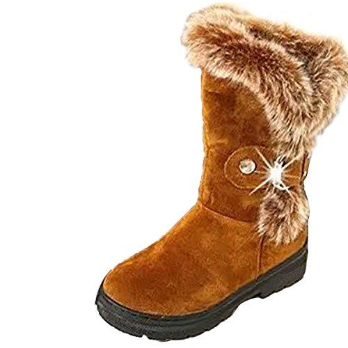 Ski Boot Calf Buckle Gaorui Fur Rhinestone Suede Booties Brown Fashion Snow Mid Rabbit Women YwxxCPqgF