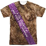 Mud Wrestling Champ Unisex Adult Front Only Sublimated T Shirt for Men and Women