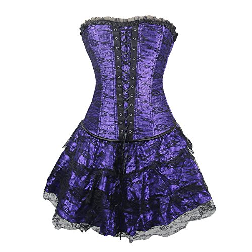 Topmelon Womens Fashion Gothic Boned Corset Bustier Skirt