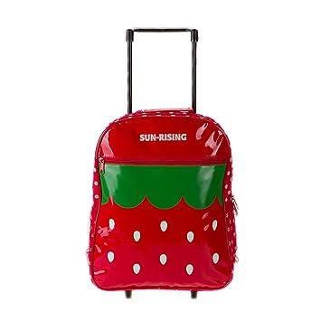Maleta para niños Bolso de escuela de dibujos animados Maleta de ocio Mochila trolley Adecuado para niños y niñas en los grados 2-6,Strawberry: Amazon.es: ...
