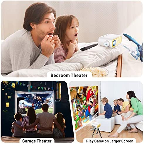 Mini Projector, ELEPHAS Portable Projector for iPhone, Video Smart Led Pocket Pico Small Home Phone Projector for Bedroom with Laptop HDMI USB TV AV Interfaces and Remote Control to Watch Cartoon
