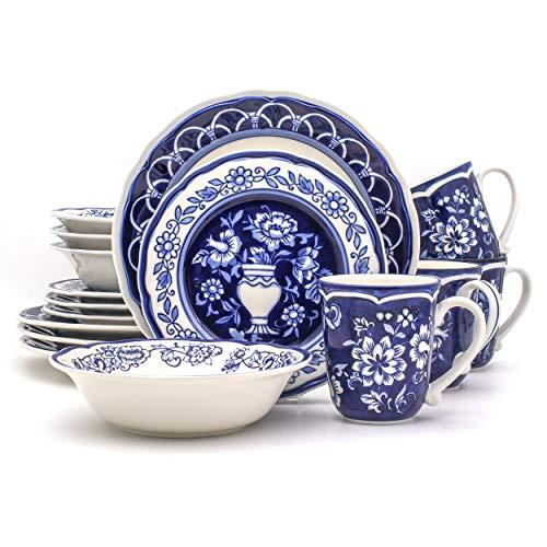 Euro Ceramica BGN-1001-DS Blue Garden Dinnerware Set, 16Piece, White