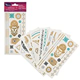 Metallic Temporary Tattoos- Six Sheets of Gold and Silver Long Lasting Flash Fashion Designs (Series 4)