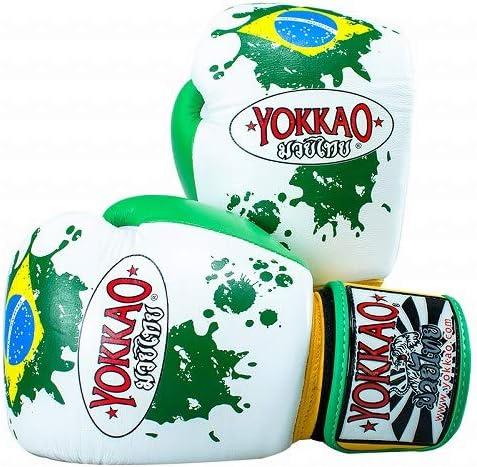 Yokkao Boxing ボクシンググローブ Brazilian Flag 白/Yokkao ヨッカオ ブルテリア Bull Terrier ボクシンググローブ 本革仕様 ムエタイ キックボクシング ムエタイ本場タイのブランド  12oz