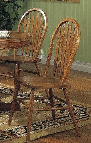 - Coaster Windsor Style Arrow Back Dining Chairs, Solid Oak, Set of 2