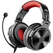 #LightningDeal Bluetooth Over Ear Headphones with 80 Hrs Playtime, OneOdio Wired Gaming Stereo Headsets with Boom Mic for PS4, Xbox one, PC, Wireless Headset for Phones, Laptop, Office - Studio Wireless(Y80B) (Red)