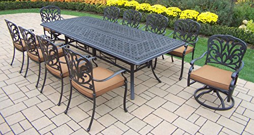 Oakland Living Hampton 11-Piece Dining Set with Sunbrella Cushions, 102 by 46-Inch